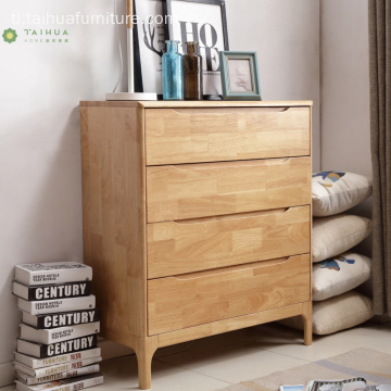 Banayad na Solid na Goma Wood 4 Drawer Chest